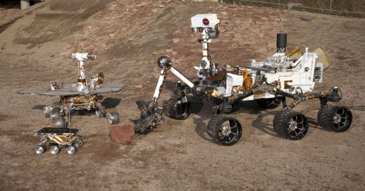 Undated handout photo showing three generations of Rovers in the Mars Test Yard at NASA's Jet Propulsion Laboratory, Pasadena