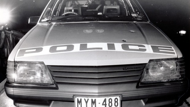 The car showing bullet holes in which two policemen were shot in Noble Park by 'Mad Max' Pavel Marinof in 1985.