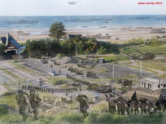 Американски войски на плажа Омаха по време на Десанта в Нормандия