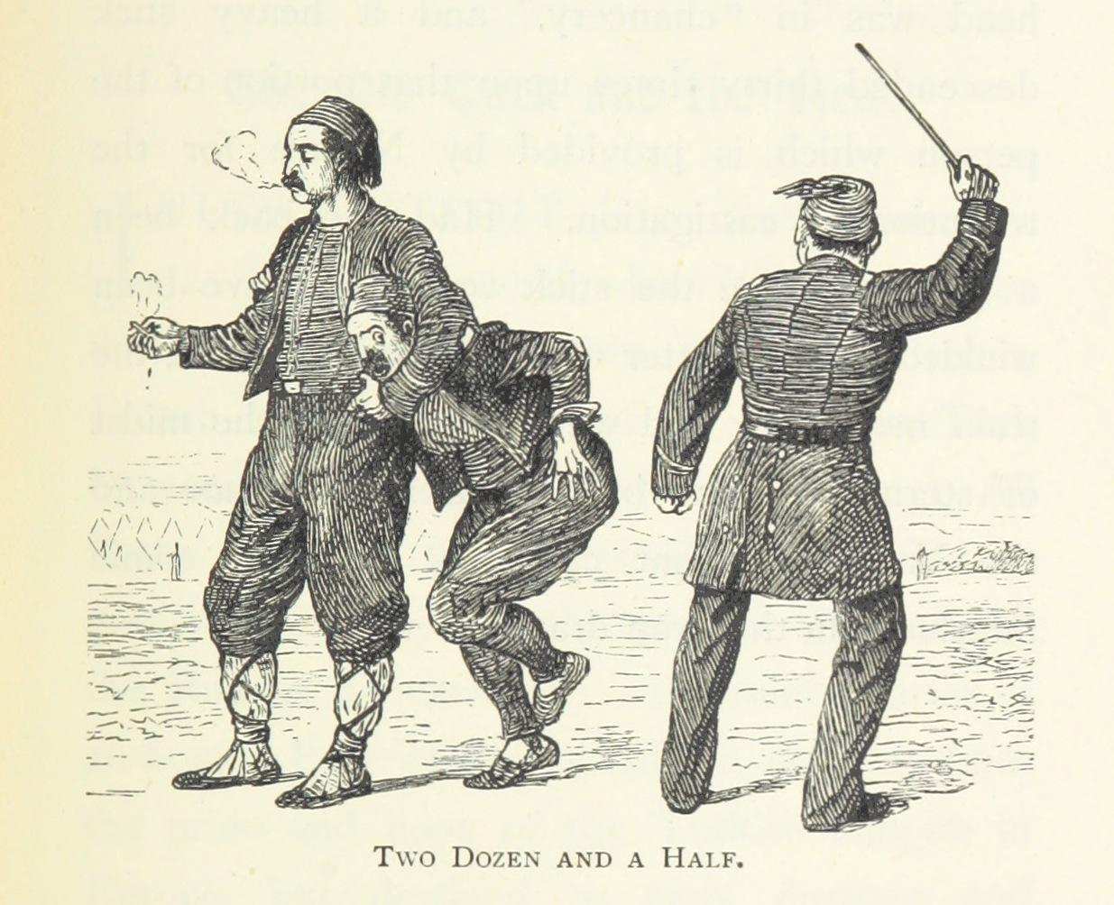Наказание на българин от турски заптиета. Илюстрация от книгата The Liberation of Bulgaria, 1894 г.