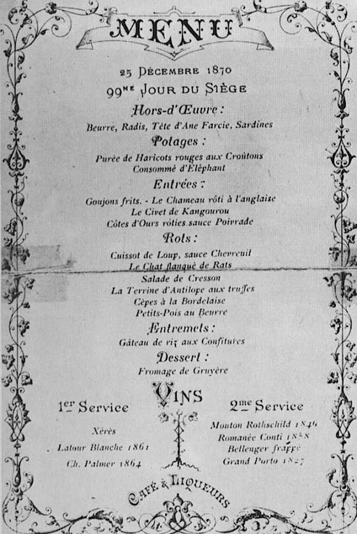 меню парижани обсада