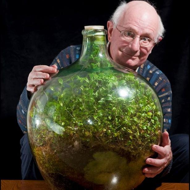 Дейвид Латимър с неговата градина в бутилка.