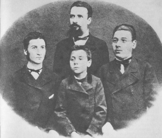 Христо Ботев и братята му Стефан, Кирил и Боян, април или май 1876 г.