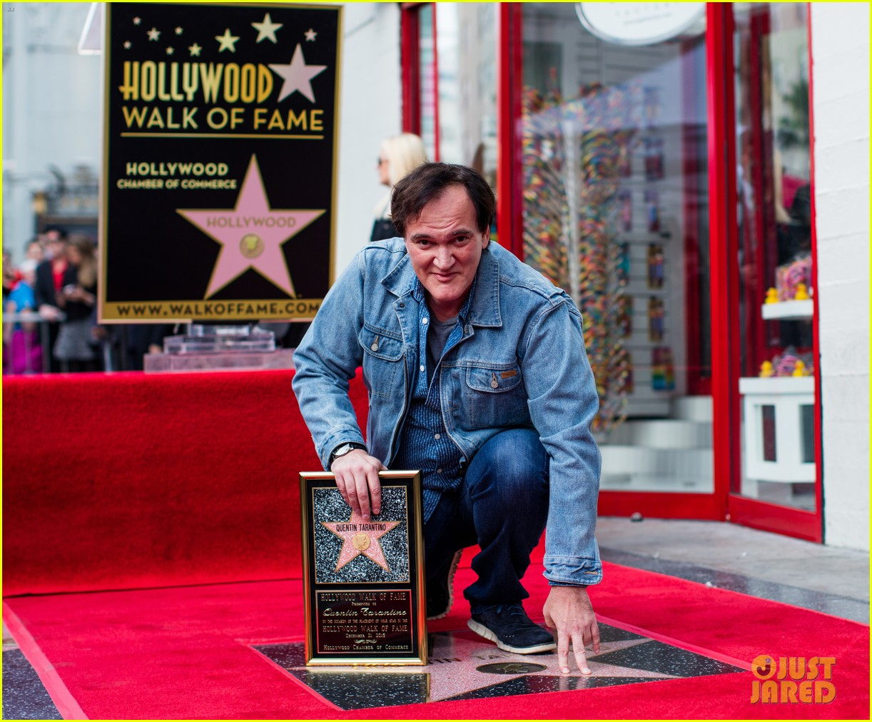 HOLLYWOOD, CA - DECEMBER 21: Filmmaker and Director Quentin Tarantino poses with his star on the Hollywood Walk of Fame on December 21, 2015 in Hollywood, California. (Photo by Mark Davis/Getty Images)