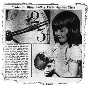Малката Луиз Томпсън, която открива паяка в часовника.