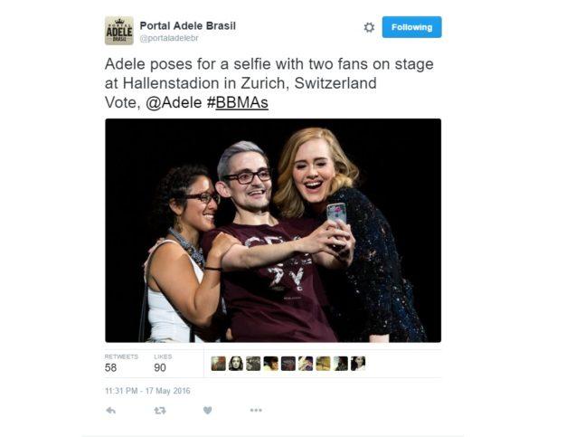 Адел с фенове на сцената в Цюрих