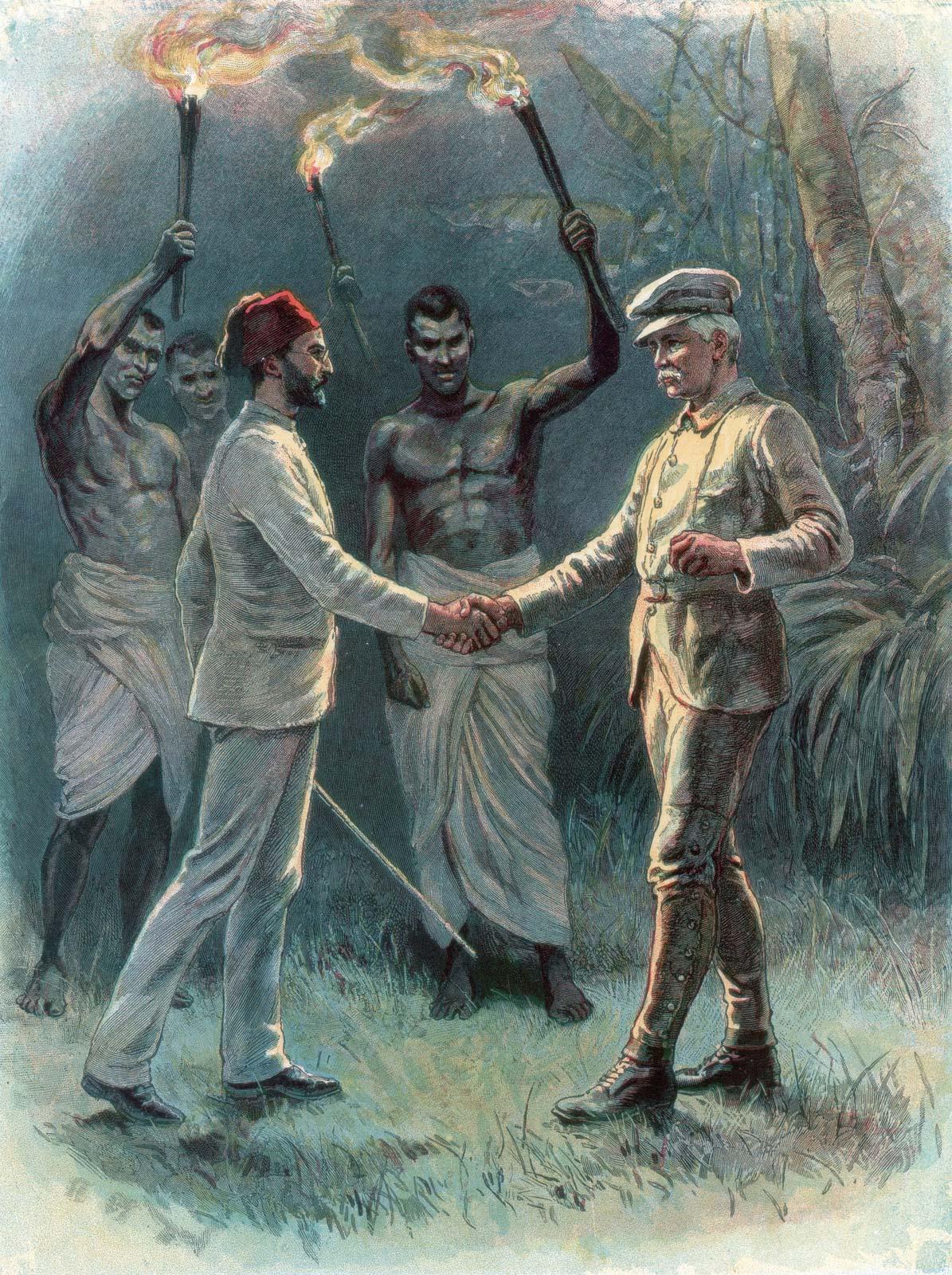 Литография, изобразяваща срещата на Мехмед Емин Паша (вляво) и сър Хенри Мортън Стенли край езерото Алберт в Източна Африка на 19 април, 1888 г.