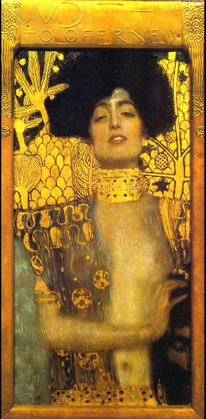 """Юдит I, друга картина, характерна за """"златния"""" стил на Климт."""