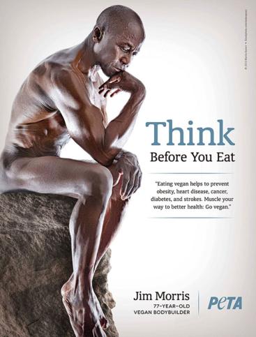 Рекламата за кампанията на PETA, в която Морис се снима на 78-годишна възраст