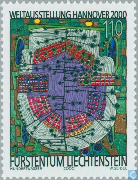 Фриденсрайх Хундертвасер пощенска марка