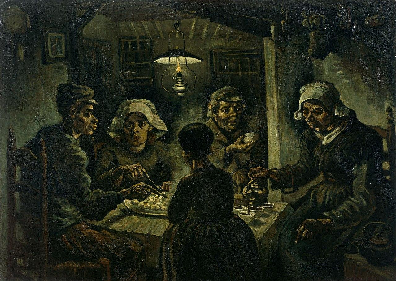 Селяни ядат картофи (1885) от Винсент ван Гог.