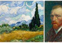 Поле с кипариси (1889) и Автопортрет (1887) на Винсент ван Гог