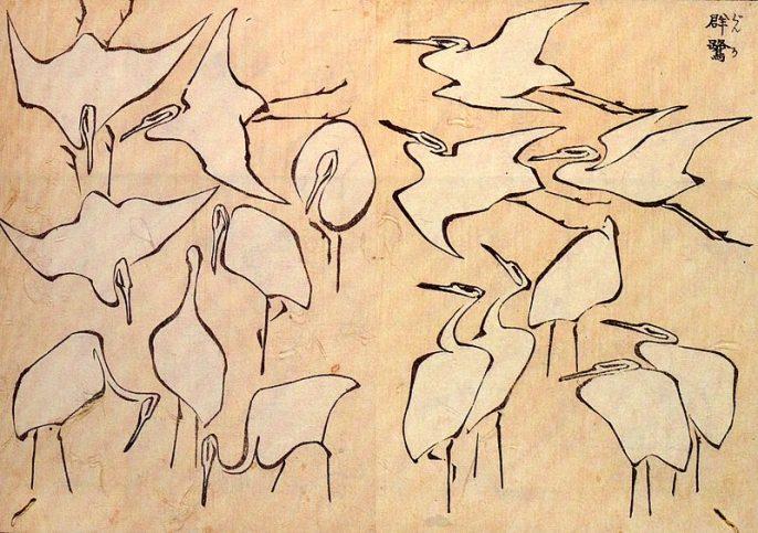 """Рисунки на чапла от """"Бързи уроци по опростено рисуване"""""""