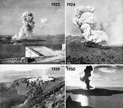 последните документирани изригвания на Санторини