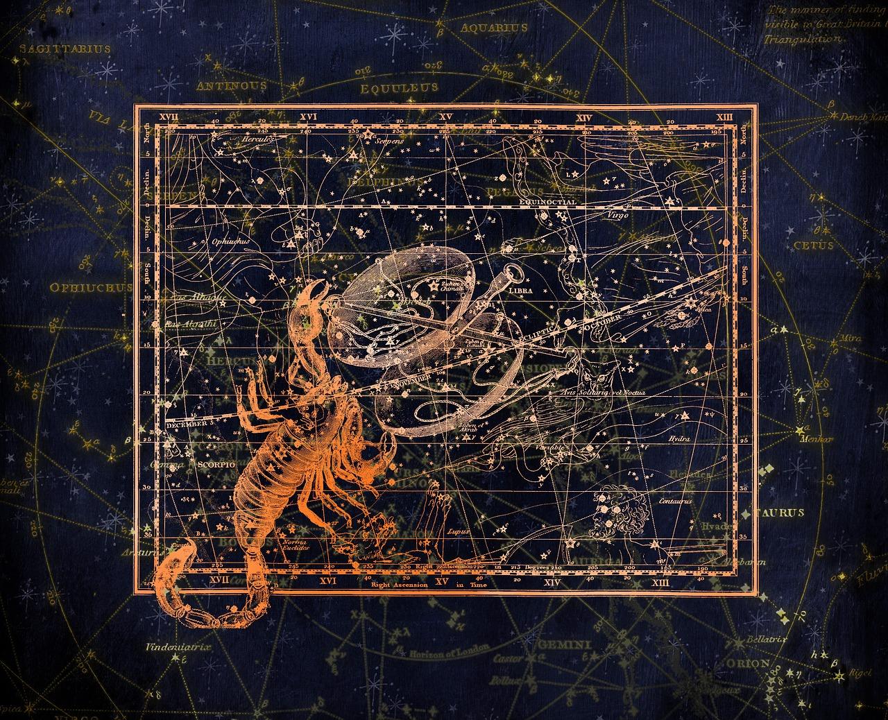 Везни и Скорпион - звездна карта